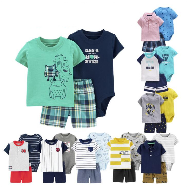 <font><b>BABY</b></font> BOY summer CLOTHES SET cotton short sleeve hooded shirt pant rompers newborn infant toddler outfits <font><b>unisex</b></font> kids <font><b>clothing</b></font> image