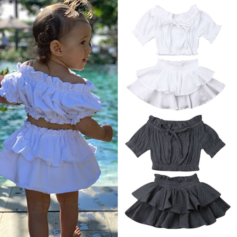 Toddler Baby Girl Clothes Solid Ruffle Tops Crop Dress Skirt Summer Outfits