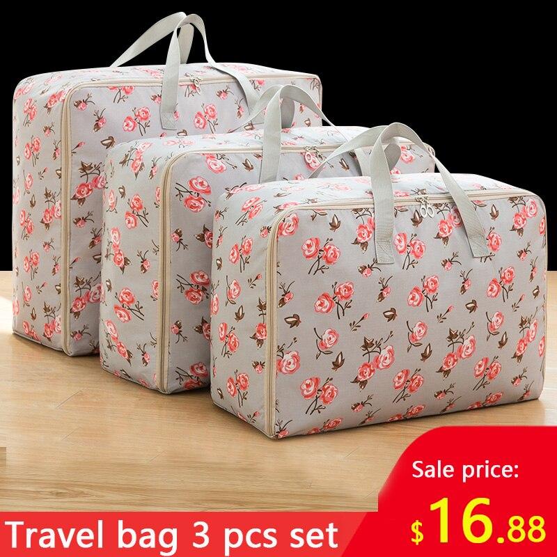 3 Piece Set Vacation Travel Bag Clothes Storage Bag Large Capacity Big Bag Clothes Quilt Bag Moisture-proof Moving House Pack