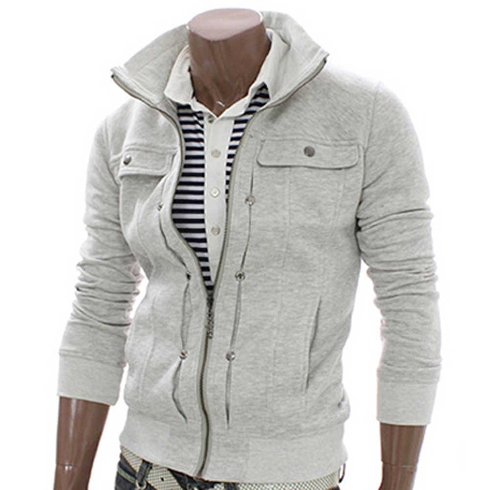 Rits Mannen Jassen Herfst Winter Casual Fleece Coat Bomber Jacket Stand Kraag Mode Mannelijke Uitloper Slim en Past Jas