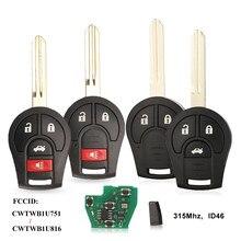 Jingyuqin – clé télécommande pour Nissan, 3/4 boutons, 315MHZ, transpondeur Fob, entrée sans clé, 46 puces, H0561-C993A