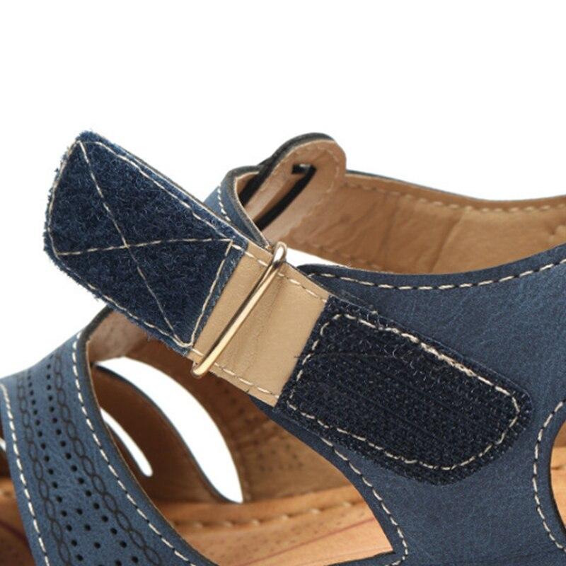 MCCKLE Woman Summer Leather Vintage Sandals Buckle Casual Sewing Women Shoes Female Ladies Platform Retro Sandalias Plus 35-44 3