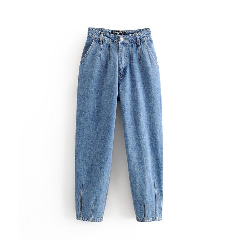 Fashion Classic Blue Jeans Womens High Waist Trousers Ladies Denim Boot Cut Mom Jeans Pantalon Femme