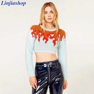 Женский короткий свитер из искусственного мохерового волокна, повседневный трикотажный топ с длинными рукавами и круглым вырезом, с изобра...