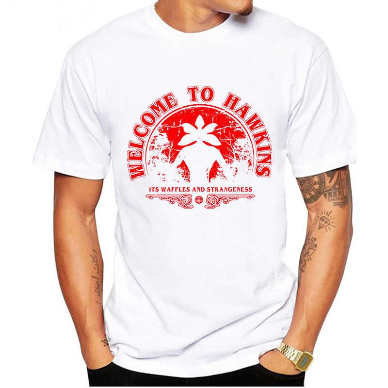 Luslos Grappige T-shirt Mannen Stranger Dingen T-shirt Zomer Anime Ondersteboven Elf Tshirt Korte Mouw Mannelijke Homme Wit Overhemd