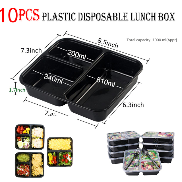 5/10 Pcs Meal Storage Food Prep Takeaway Boxes Plastic Disposable Lunch Box 3 Compartment Reusable Microwavable Containers Home