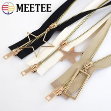 1Pcs Meetee 120cm 5# Metal Zipper Double Sliders  Gold Tooth Open-end Zip Diy Down Jacket Coat Clothing Accessories Tailor