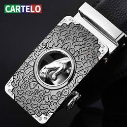 CARTELO-Cinturón de piel de vaca con hebilla automática para hombre, cinturón de moda informal para jóvenes y mediana edad