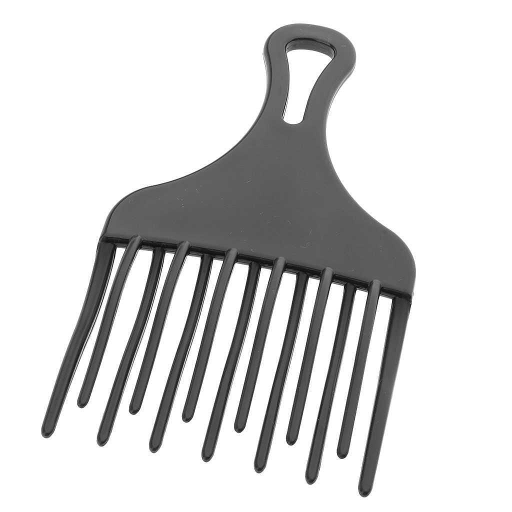Breiter Zahn Friseur Kunststoff Afro Haar Pick Kamm Detangle Perücke Braid Styling Lift Haarbürste Schwarz