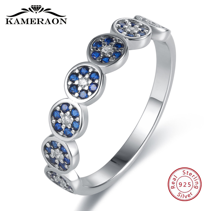 Eyelet Designer Rings Women High Quality 925 Sterling Silver Size 10 Female Ring Blue Stones And Crystals Wedding Fine Jewelry