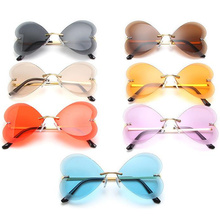 Fashion Trimming Sunglasses Rimless Sun Glasses Anti-UV Spectacles Butterfly Eyeglasses Color Lens Eyewear Adumbral Ornamental A