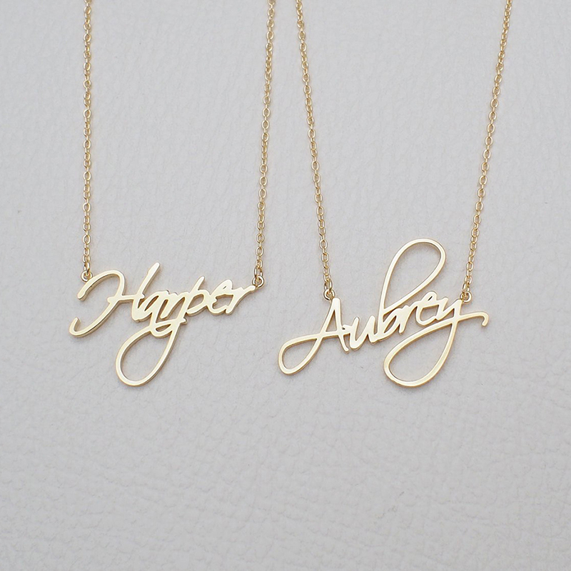Customized Name Necklace Pendant Stainless Steel Nameplate Necklaces for Women Girls Custom Jewelry BFF Collares De Moda 2019