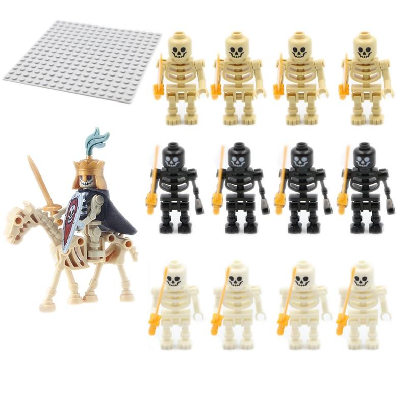 Мини-замок ниндзя, рыцарь, воин, скелет, армия, строительные блоки, пиратский череп, сильный конь, персонаж, коллекция, детские игрушки