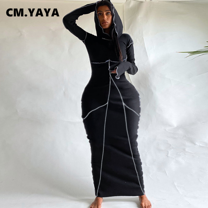 CM.YAYA Frauen Patchwork Mit Kapuze Lange Hülse Bodycon Maxi Kleid Sexy Club Party Lange Kleider 2021 Frühling winter