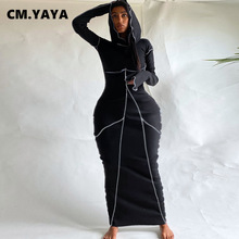 CM.YAYA Women Patchwork Hooded Long Sleeve Bodycon Maxi Dress Sexy Club Party Long Dresses 2021 Spring winter