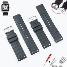 Izle aksesuarları kauçuk kayış pin toka Cartier için W20121U2 Santos100 serisi erkek ve kadın silikon spor kayış 23mm