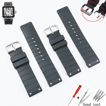 Watch accessories rubber strap pin buckle for Cartier W20121U2 Santos100 series men's and women's silicone sports strap 23mm недорого