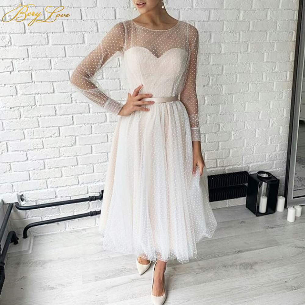 Long Sleeves Short Prom Dresses Dot Tulle Illusion Sweetheart A Line Evening Dress Plus Size Robes de cocktail Satin Belt