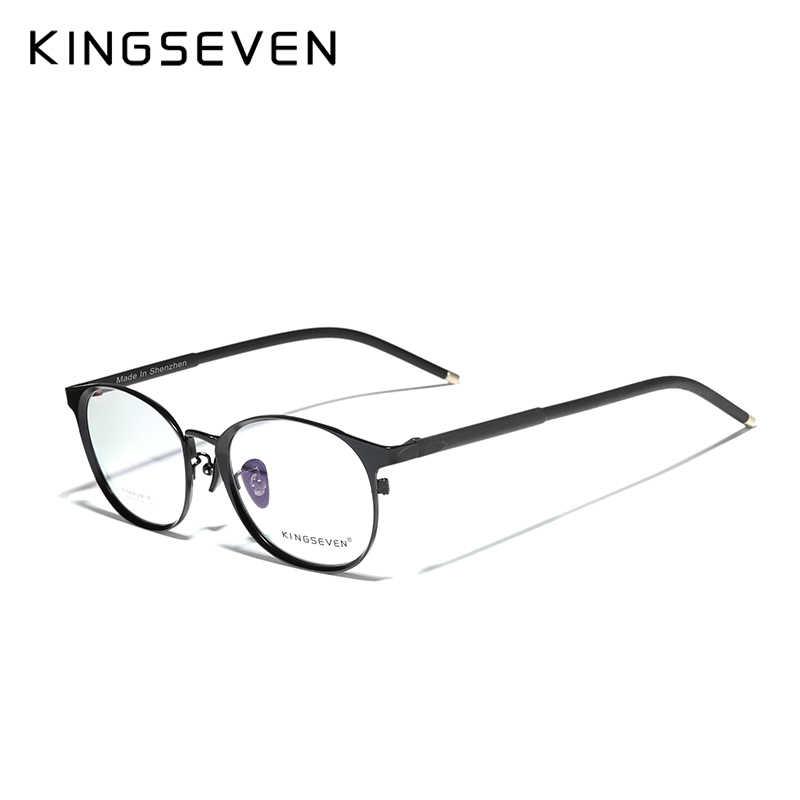 Armação de titânio puro kingseven, armação masculina, vintage, redonda, clássica, óptica, óculos de grau, mulheres