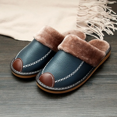 Men Slippers Black New Winter PU Leather Slippers Warm Indoor Slipper Waterproof Home House Shoes Women Warm Leather Slippers 3