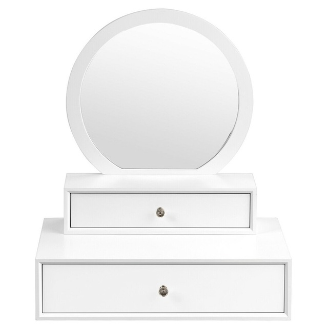 Bedroom Furniture White Makeup Dresser Table Dressing Wall Mounted Vanity Mirror with 2 Drawer HW65956 2