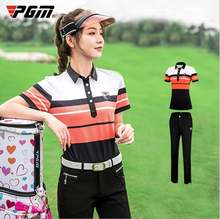 Футболка pgm женская с коротким рукавом рубашка в полоску на