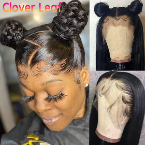 Image 1 - Clover Leaf 360 Lace Wig Remy 13X4 Straight Lace Front Wig Malaysia Straight Human Hair Wigs 4X4 Closure Wig Pre Plucked