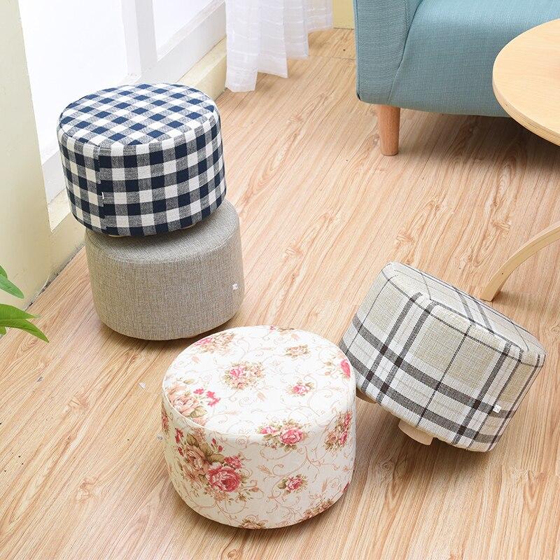 Canapé de salon à la mode peut décueillir et laver en tabouret bas tabouret tabourets ronds petit banc en bois chaussures de ménage