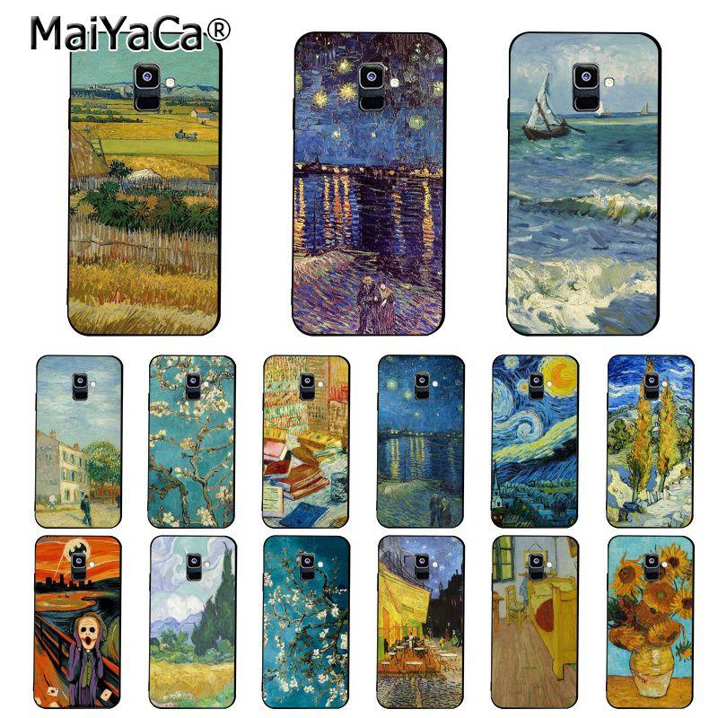 MaiYaCa Van Gogh Starry Night oil painting Phone Case For Samsung Galaxy A7 A50 A70 A40 A20 A30 A8 A6 A8 Plus A9 2018