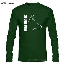 Preço barato mensilly cão belga malinois t camisas de manga longa marca design personalizado camiseta senhores tamanho alto