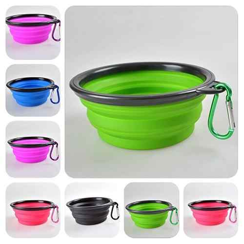 비 독성 TINGHAO Foldable 개 애완 동물 여행 먹이 그릇 물 접시 휴대용 실리콘 그릇 좋은