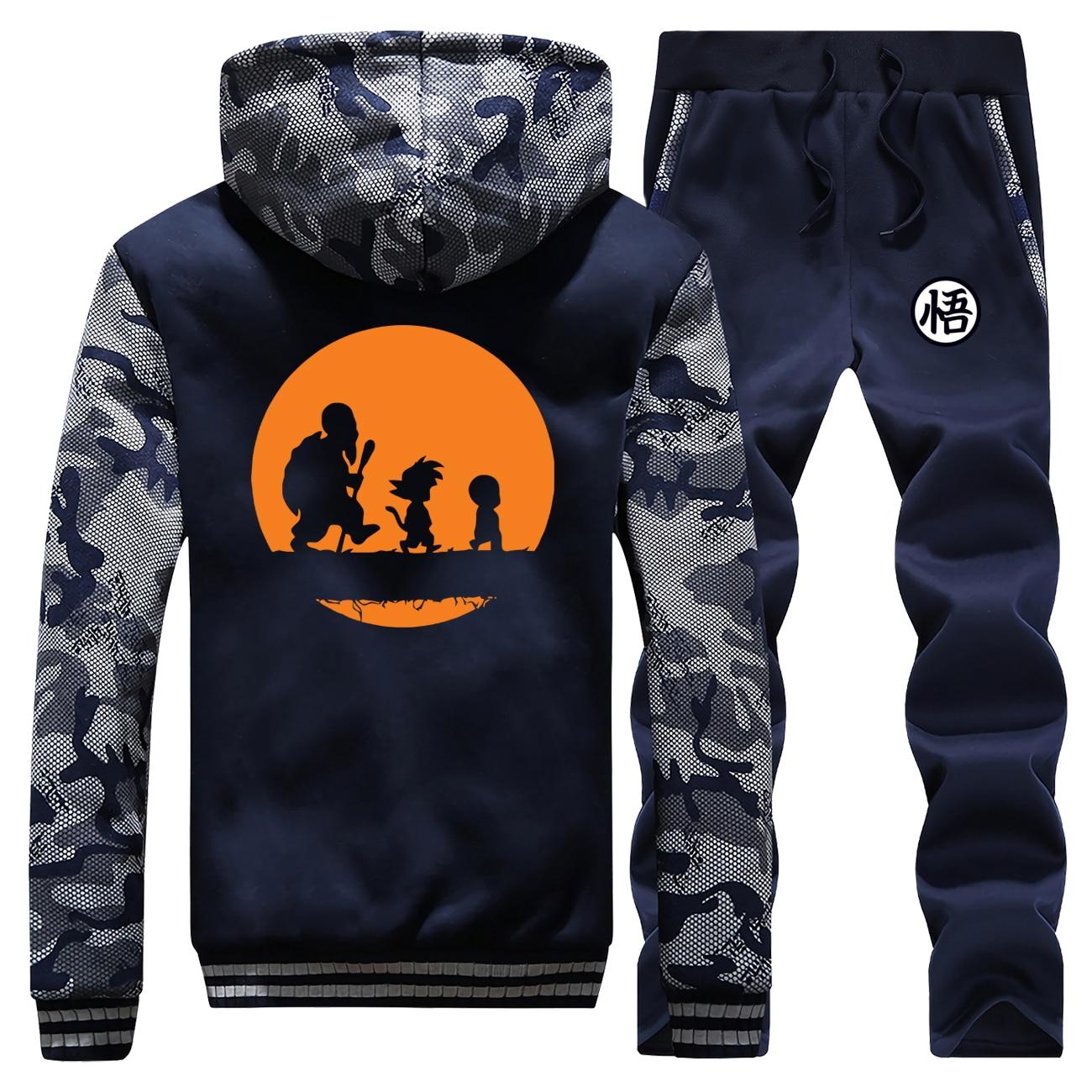 Anime Dragon Ball Z Men Hoodie Sweatshirt Master Roshi Goku Print Coat Zip Winter Warm Jacket+Pants 2 Piece Sets Mens Tracksuit
