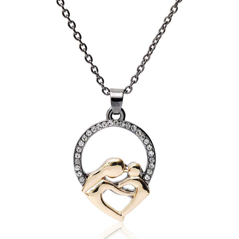 Mother And Daughter Family Parent-child Crystal Gold Silver Pendant Necklace