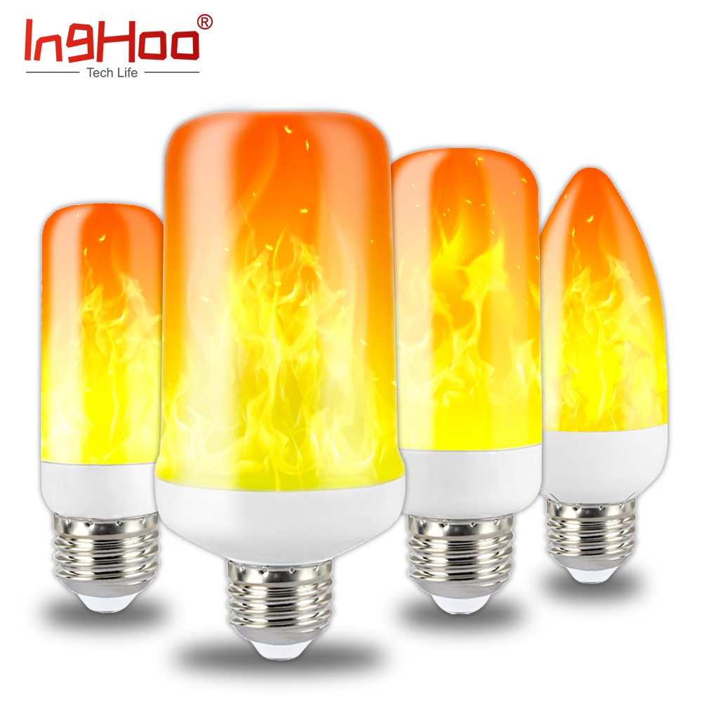 IngHoo Realistic Flame Light Bulb Dynamic Flame Effect Flashing Light Bulb Kitchen Bedroom Lighting Party Party Atmosphere Light