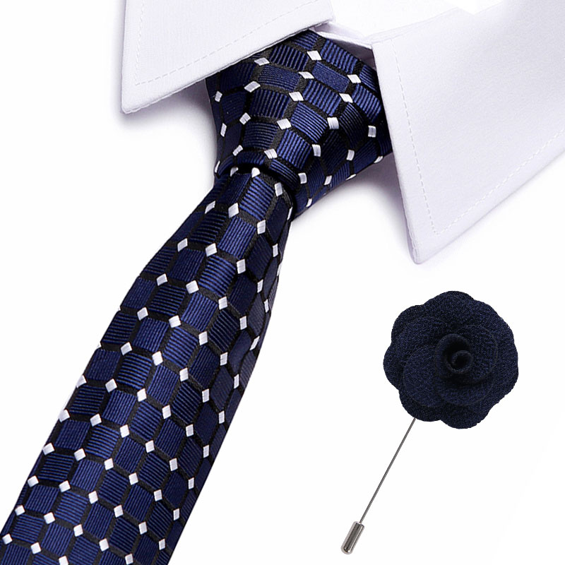 Luxury Neckties Men's Stripe Blue Black Wedding Ties Jacquard Woven 7.5 Cm 100% Silk Men Tie Formal Dress Accessories Mens Ties