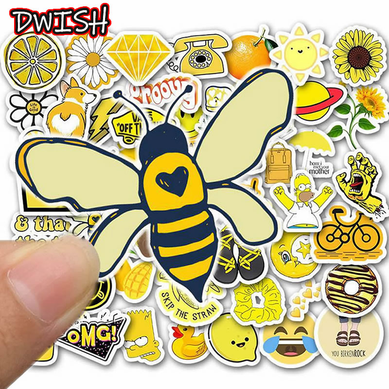 50pcs/Pack Casual Animal Bee Waterproof Stickers Skateboard Guitar Suitcase Girl Children Funny Graffiti Classic Toy Sticker