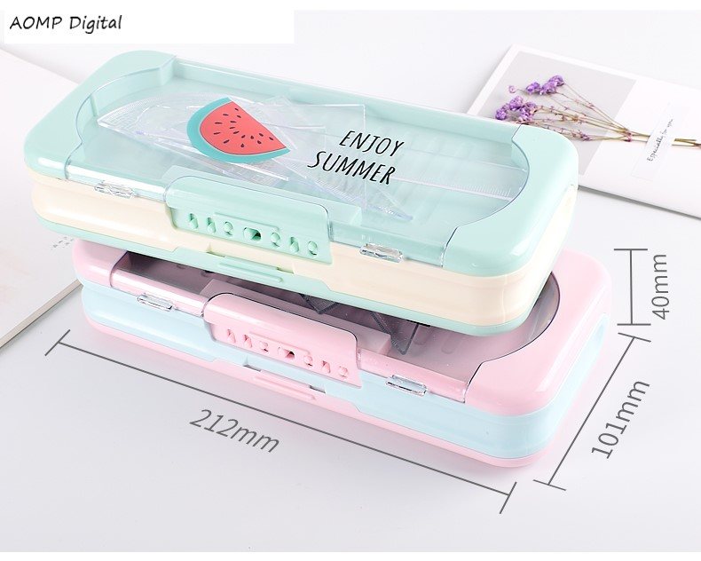 Stationery Box With Lock Password For Men And Women, Pupils, Multi-function Pen Case, Large Capacity, Simple Net Red Pencil Case