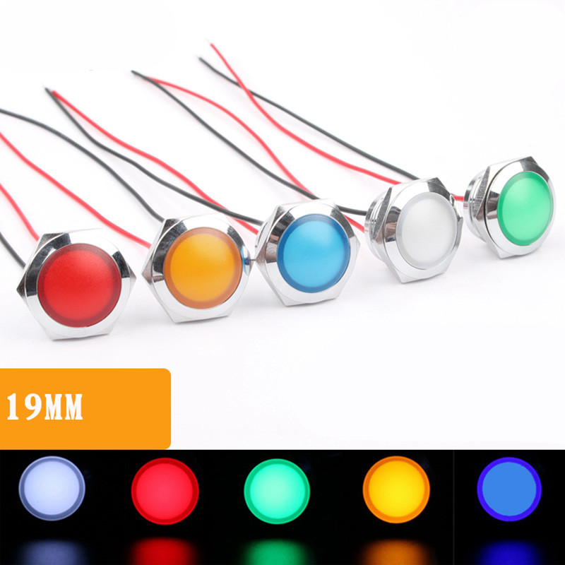 1pcs 19mm Metal Indicator Red, Green, Blue, Yellow And White LED Waterproof Ultra Short Type Indicator 3V12V24V220V WIth Wire