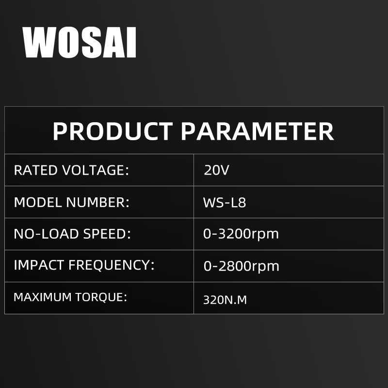 WOSAI 20V llave eléctrica sin escobillas Llave de impacto 320N.m 4.0AH batería Li taladro de mano instalación herramientas eléctricas