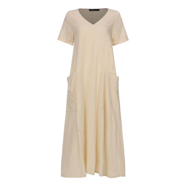 Plus Size Shirt Dress Women's Summer Sundress 2019 ZANZEA Vintage Casual Linen Midi Dress Tunic Vestidos V Neck Solid Robe Femme 5
