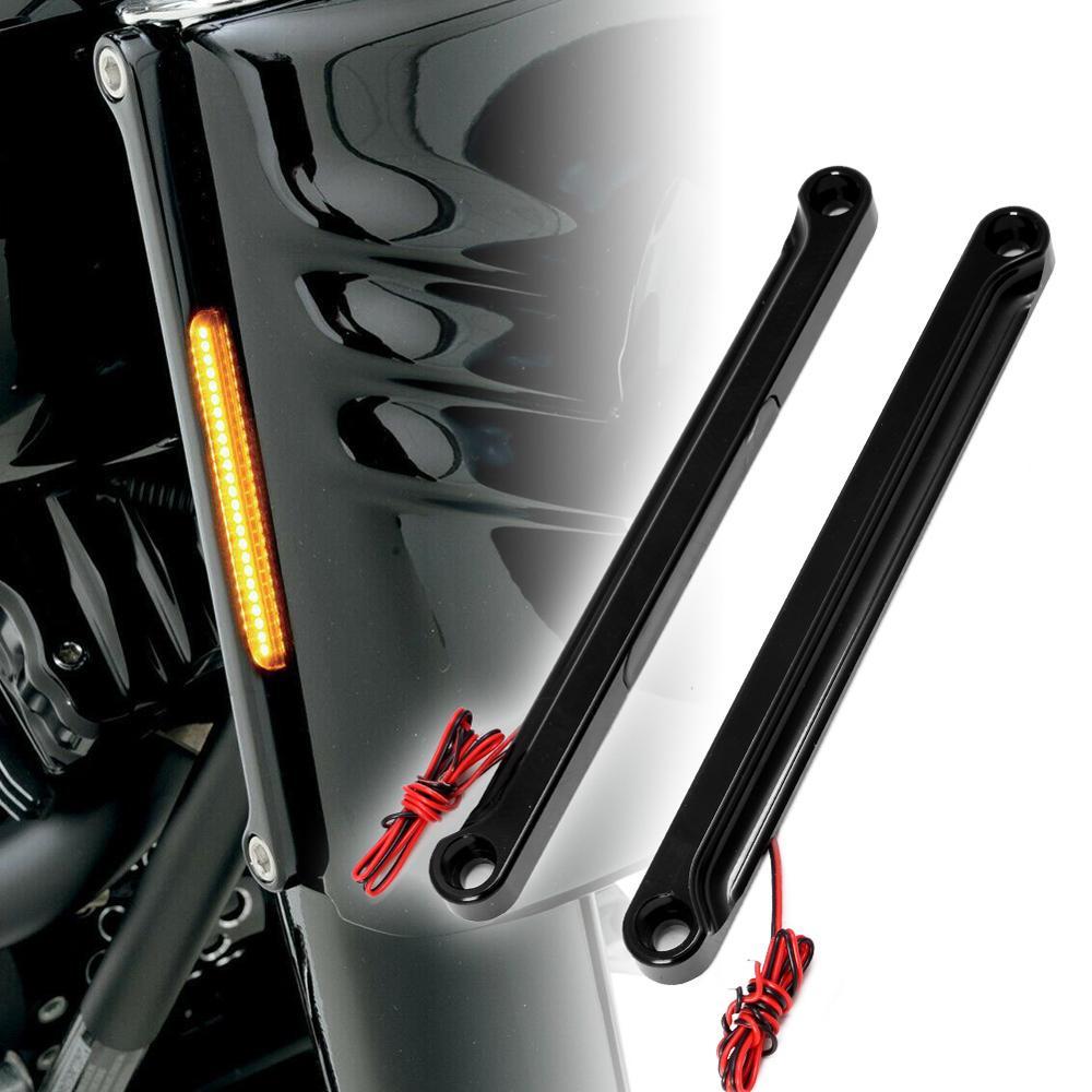 Motorcycle Alloy Art Front LED Flush Fork Turn Signals Light Smoke Lens Brackets For Harley Fat Boy 1990-2017 Models