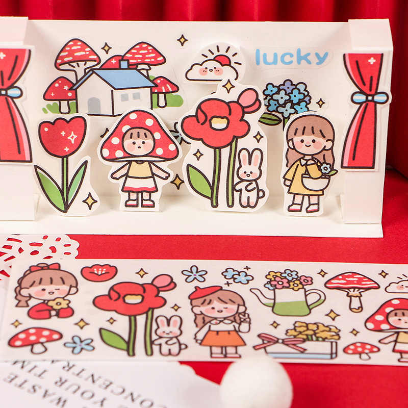 Mignon joint fille rose masquage Washi ruban adhésif décoratif Decora bricolage Scrapbooking autocollant étiquette papeterie IME1065