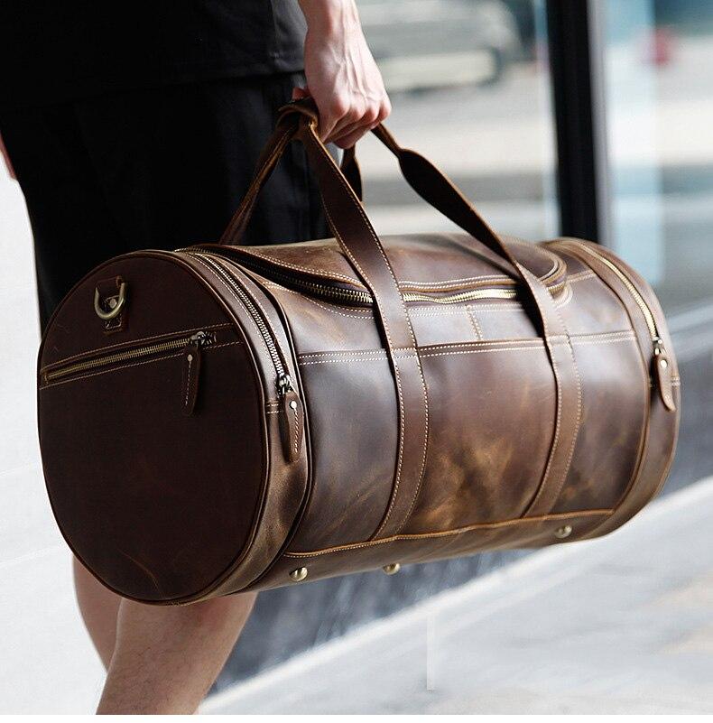 Luufan bolsa de viaje de cuero genuino para hombres bolsas de lona para viaje de negocios bolsa de fin de semana de hombre lejos de viaje bolso grande-in Bolsas de viaje from Maletas y bolsas    1