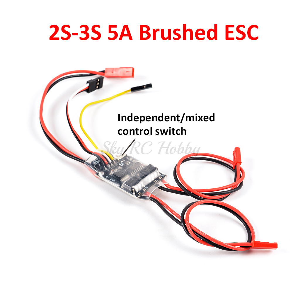 4PCS FPVDrone 5A ESC Brushed Speed Controller Dual Way Bidirectional ESC 2S-3S Lipo for Rc Model Boat//Tank 130 180 Brushed Motor Spare Parts