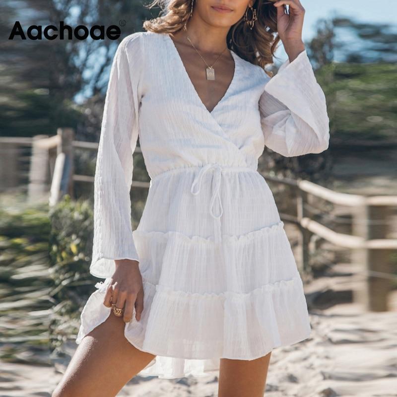 Aachoae Sexy Deep V Neck White Dress Women Long Sleeve Casual Mini Dress Bandage Pleated Dresses Lady Summer Vestidos Mujer