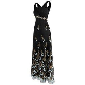 Image 3 - מלאך אופנת נשים של קו V צוואר טווס רקמת שמלות ערב ארוך מפלגה שמלת 469