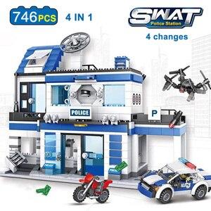 Image 2 - 890 adet şehir polis karakolu yapı taşları uyumlu SWAT şehir polis arabası hapis hücre helikopter tuğla oyuncaklar çocuklar için erkek hediyeler
