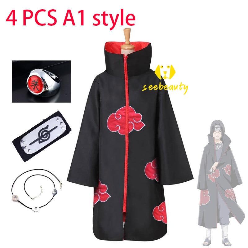 Akatsuki Cloak Costume-Ring Necklace-Sets Headband Naruto Anime Cosplay Uchiha Itachi
