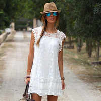 Summer Beach Wear Mini Dress Women White Lace Crotch Sleeveless Bikini Cover Up Hollow Out Sarong Kaftan Swimsuit Bathing Suit
