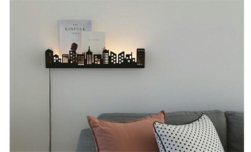 prateleira luminárias sala estar quarto luzes parede